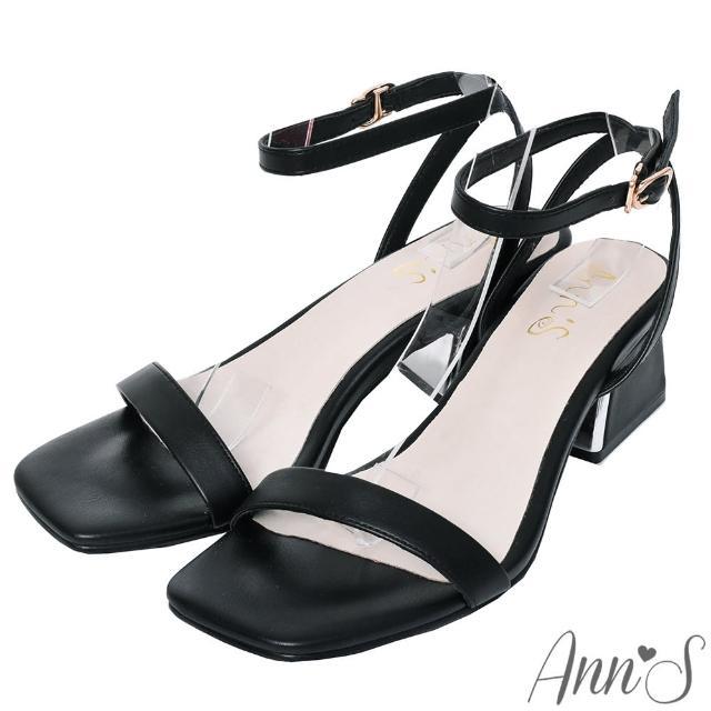 【Ann'S】不踩雷美腿製造機一字帶涼鞋-訂製金屬夾心粗跟-細帶4公分(黑)