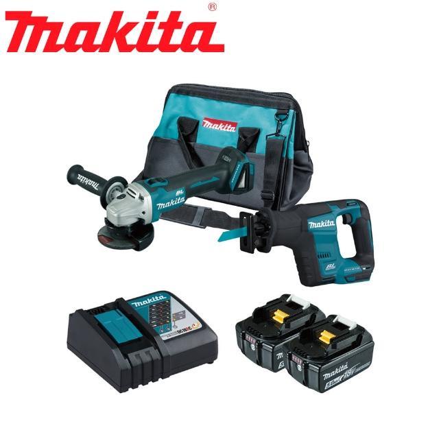 【MAKITA 牧田】18V鋰電無刷雙機組-砂輪機+手提鋸機(DGA404RTX7)