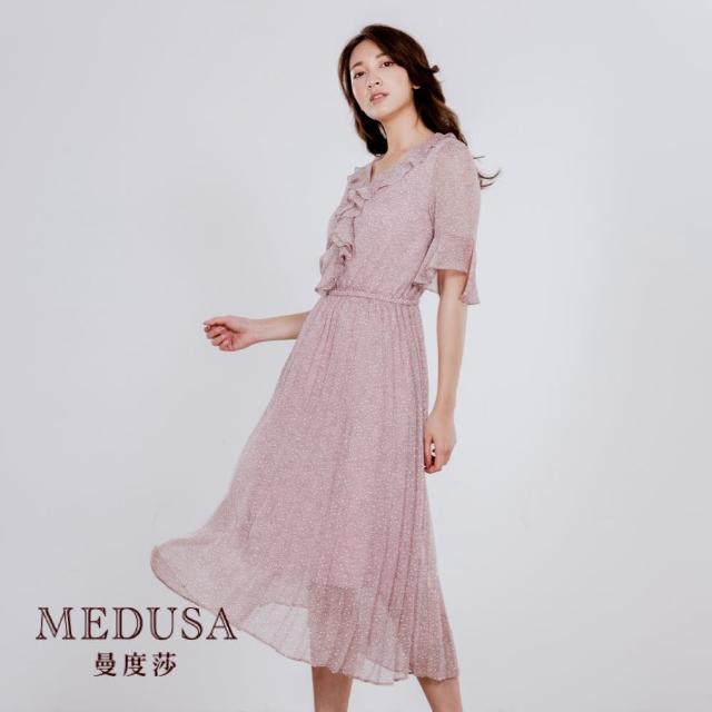 【MEDUSA 曼度莎】荷葉裝飾束腰小碎花百褶洋裝(M-XL)(601-32506)