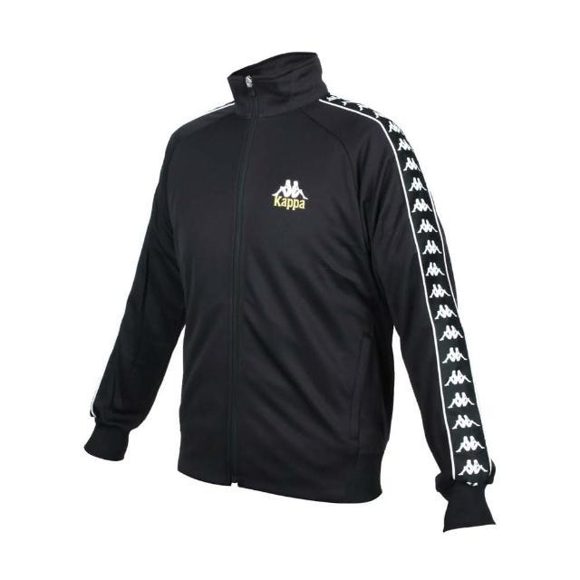 【KAPPA】男針織外套-立領外套 慢跑 休閒 吸濕排汗 抗UV 黑白金(35153JW-005)