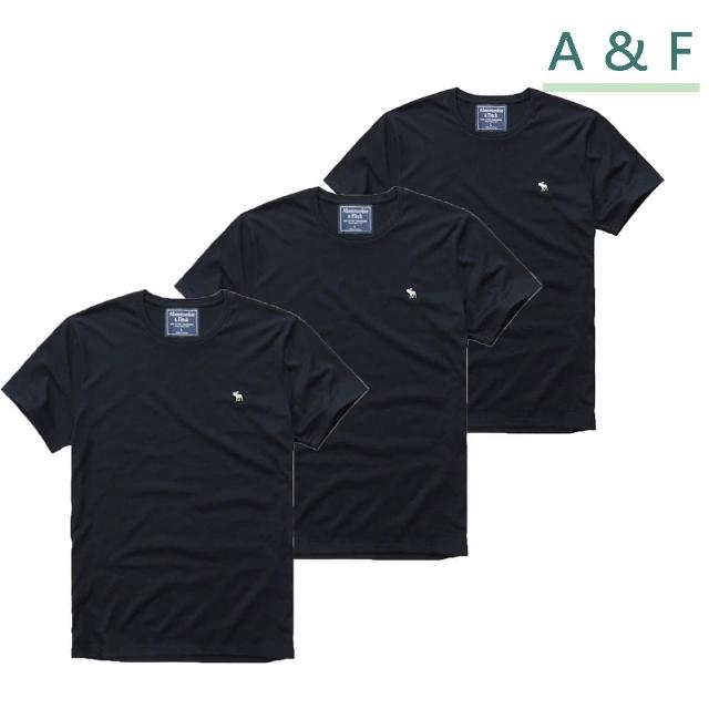 【Abercrombie & Fitch】圓領刺繡麋鹿素色短袖T恤-黑 AF 美國A&F(小Logo u領 3件組)