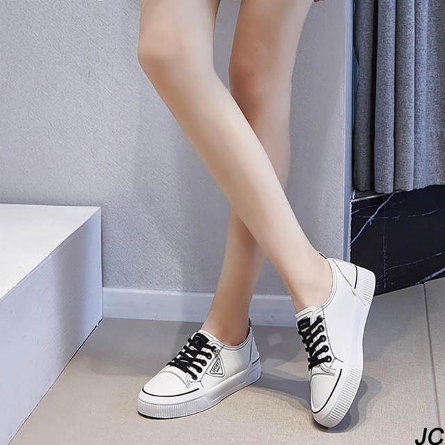 【JC Collection】真皮率性輕青春氣息厚底增高繫帶運動休閒鞋(白色)