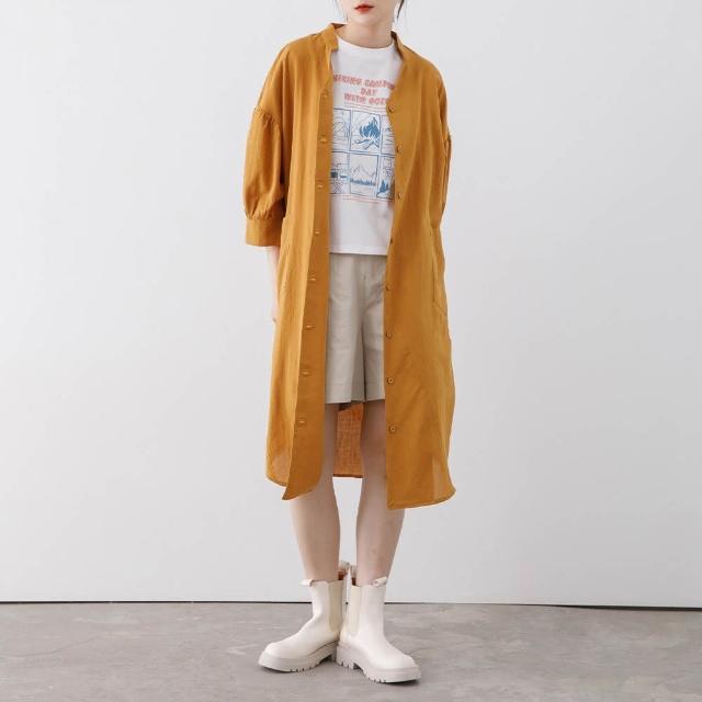 【gozo】小澎袖開襟襯衫洋裝(兩色)