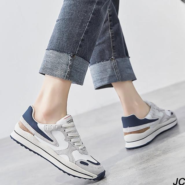 【JC Collection】優質超纖磨砂拼接雙色厚底綁帶運動休閒鞋(藍白色)