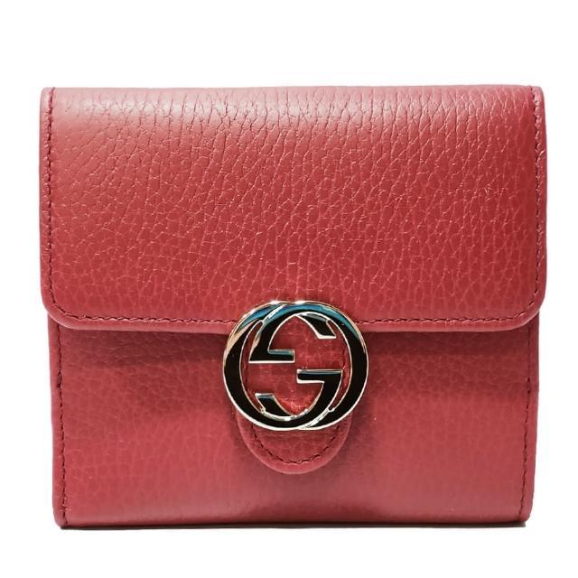 【GUCCI 古馳】615525 金屬雙G LOGO牛皮扣式零錢中短夾(紅色)
