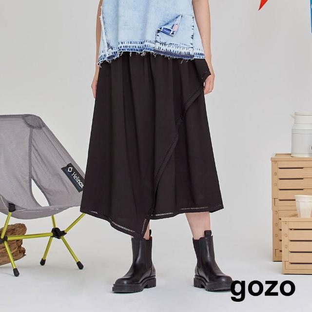 【gozo】鏤空蕾絲不規則剪裁裙
