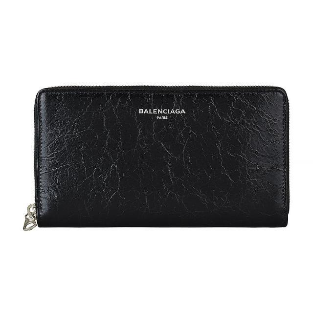 【Balenciaga 巴黎世家】BALENCIAGA巴黎世家 CALF銀字LOGO牛皮12卡拉鏈長夾(黑)