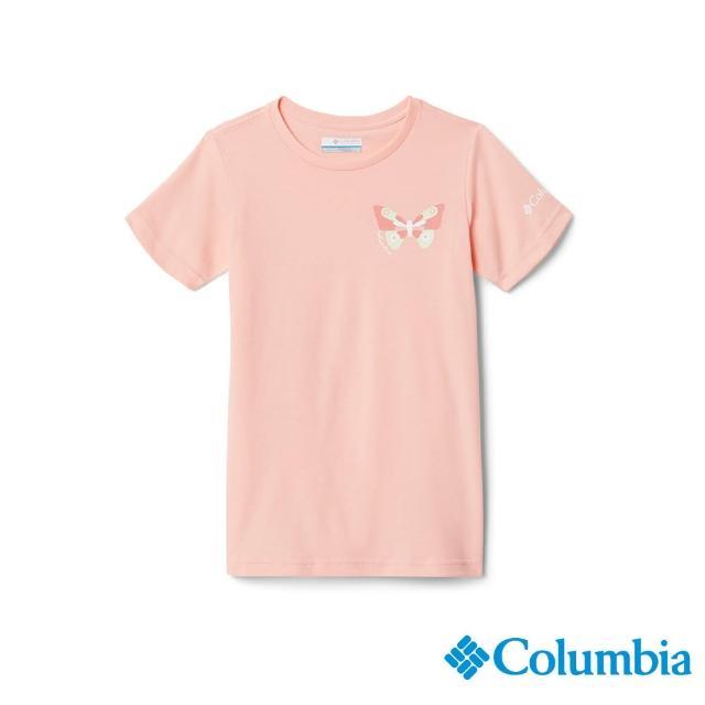【Columbia 哥倫比亞】童款- 蝴蝶印花短袖上衣-粉紅(UAG00610PK/ 有機棉)