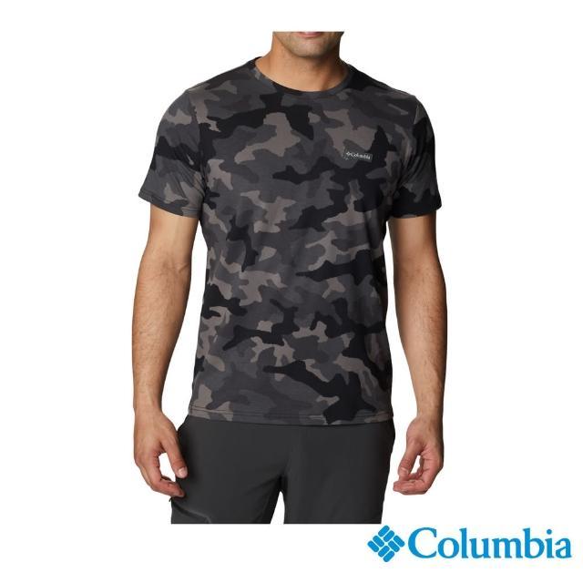 【Columbia 哥倫比亞】男款- 純棉短袖上衣-黑迷彩(UAM29550BQ / 純棉. 舒適.休閒)