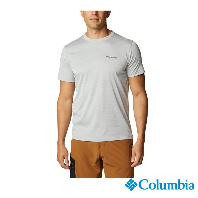 【Columbia 哥倫比亞】男款- UPF30涼感快排短袖上衣-灰色(UAM60840GY / 涼感.排汗.防曬)