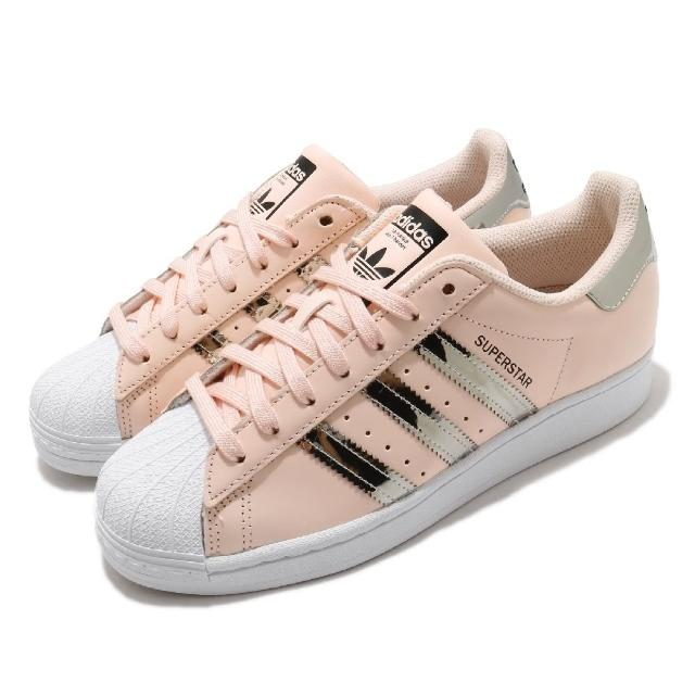 【adidas 愛迪達】休閒鞋 Superstar 復古 低筒 女鞋 愛迪達 三葉草 貝殼頭 皮革鞋面 穿搭 粉 銀(FW5014)