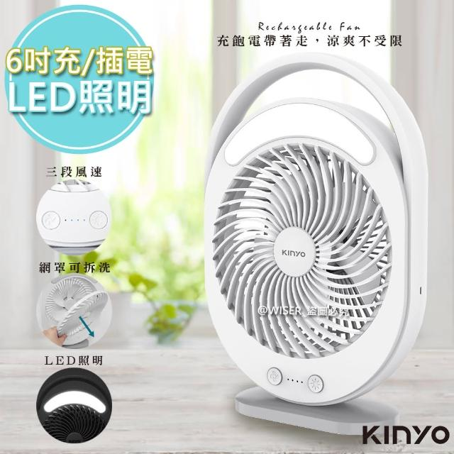 【KINYO】充插兩用6吋USB風扇DC扇/循環扇桌扇立扇 UF-890(風罩易拆洗)