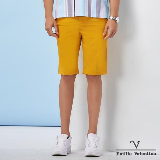 【Emilio Valentino 范倫鐵諾】男裝 經典彈力平面休閒短褲_土黃(70-1C5707)