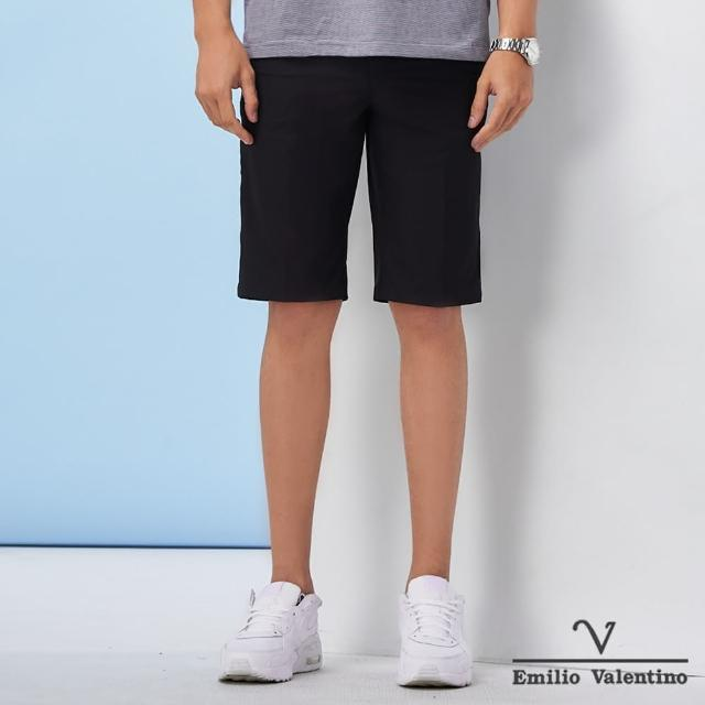 【Emilio Valentino 范倫鐵諾】男裝 經典彈力平面休閒短褲_黑(70-1C5708)