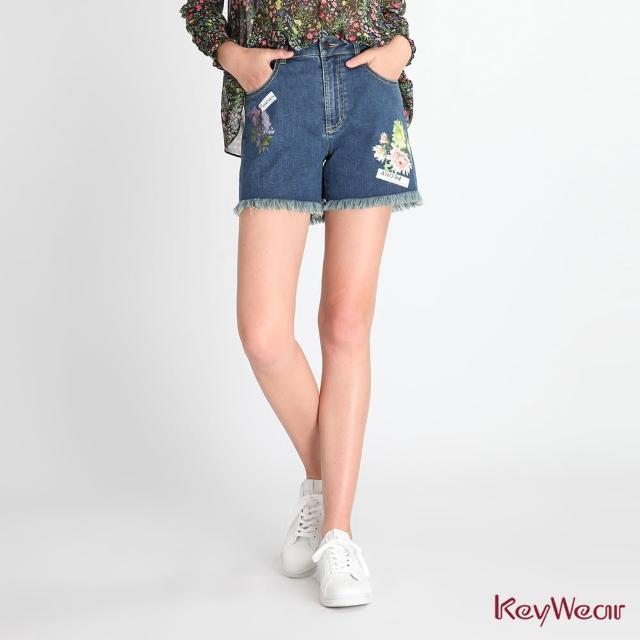 【KeyWear 奇威名品】趣味燙畫虛邊牛仔短褲