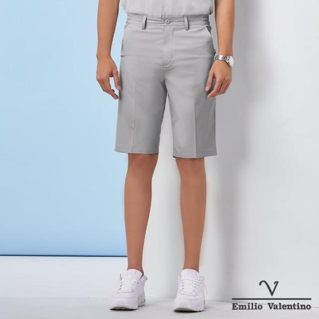 【Emilio Valentino 范倫鐵諾】男裝 經典彈力平面休閒短褲_淺灰(70-1C5709)