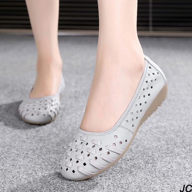 【JC Collection】牛皮柔軟編織鏤空透氣舒適時尚百搭楔型鞋休閒懶人鞋(天藍色、灰色)