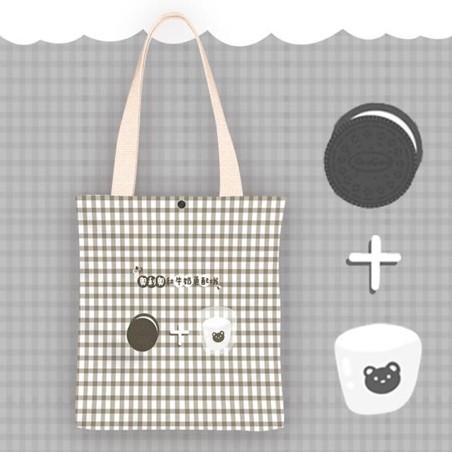 【KISSDIAMOND】文青風創意塗鴉手提肩背帆布袋-牛奶餅乾(KDB-0118)