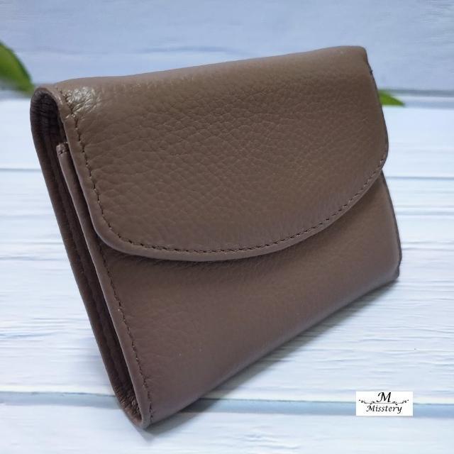 【Misstery】短夾壓扣+零錢袋短夾-紫(小牛皮短夾系列)