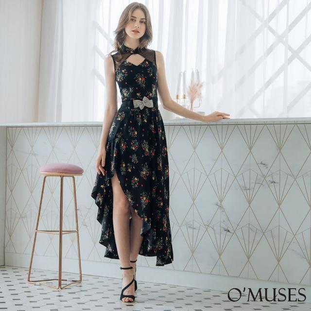 【OMUSES】蕾絲印花旗袍領黑色長洋裝7-25022-3(S-2L)