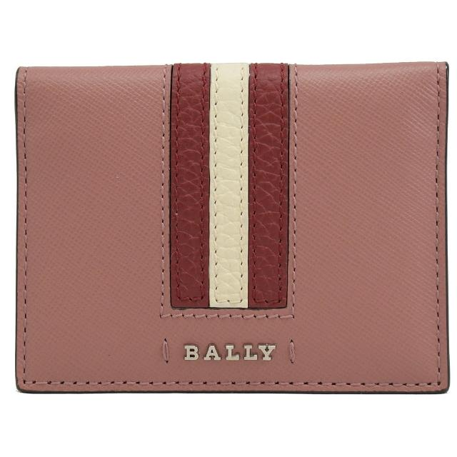 【BALLY】金屬LOGO條紋信用卡證件名片萬用夾(粉)