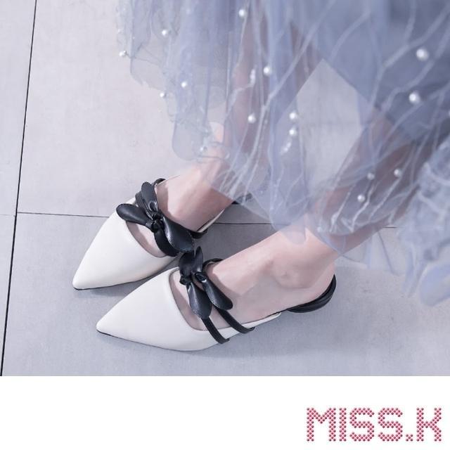 【MISS.K】尖頭淺口蝴蝶結飾帶低跟拖鞋(米)