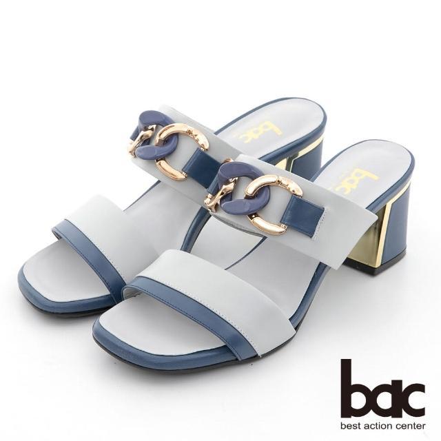 【bac】拼色一字帶鎖鏈金屬跟涼拖鞋(灰藍)
