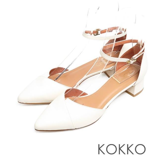 【KOKKO 集團】優雅尖頭瑪莉珍小牛皮顯瘦粗跟鞋(白色)