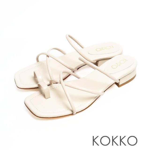 【KOKKO 集團】女神風柔軟綿羊皮細條夾腳平底涼拖鞋(米色)