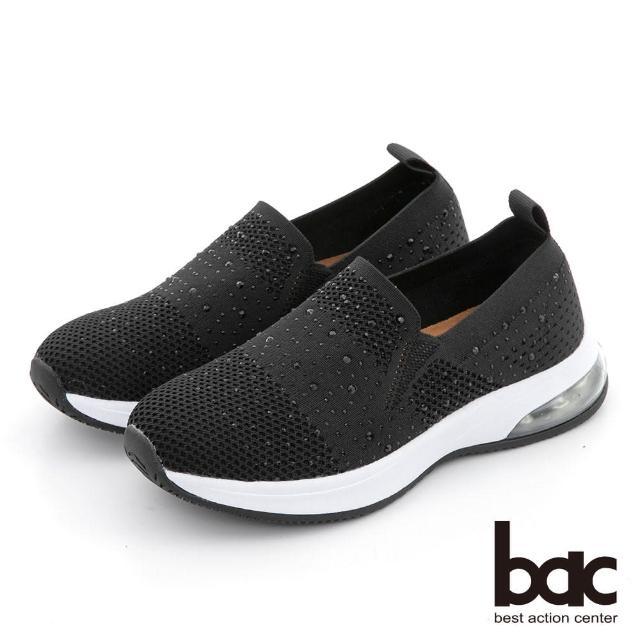【bac】包覆感飛織水鑽休閒鞋(黑色)