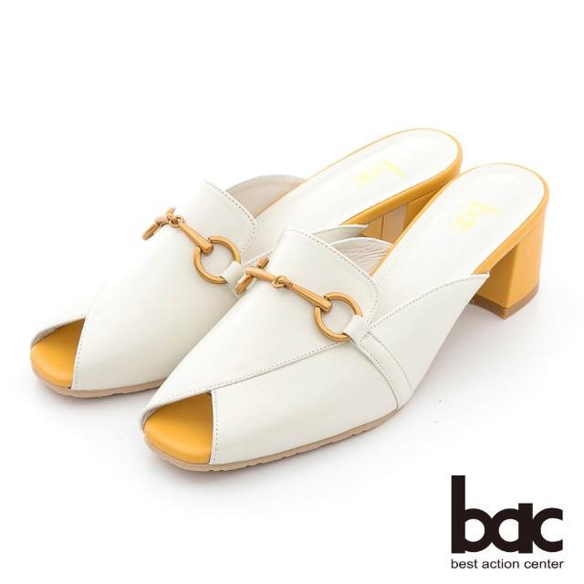 【bac】馬銜釦魚口後空穆勒鞋(白色)