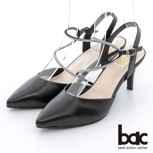 【bac】不對襯水鑽線條兩截式高跟鞋(黑色)
