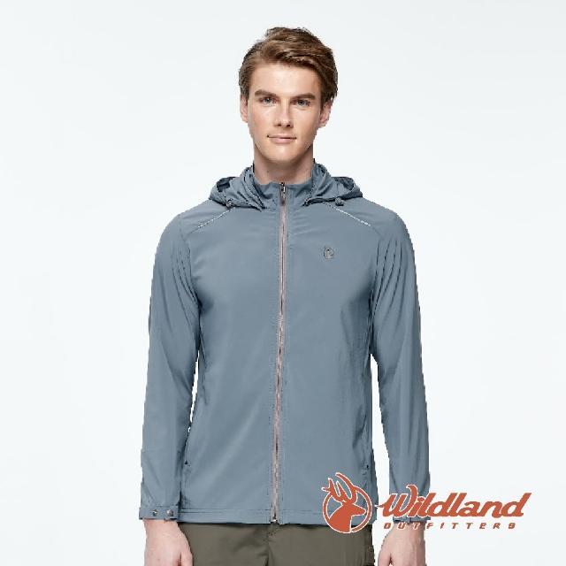 【Wildland 荒野】男 彈性透氣抗UV輕薄外套-灰藍色 0A91906-69(連帽外套/防曬外套/薄外套)