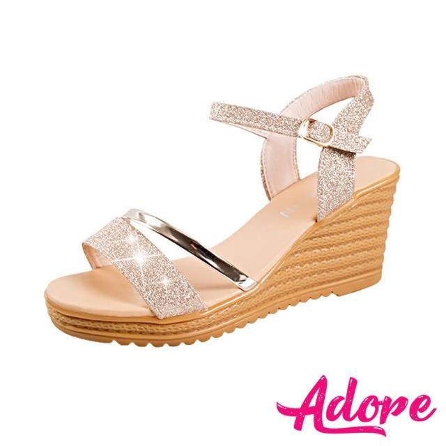 【ADORE】閃耀金蔥亮皮拼接時尚坡跟涼鞋(金)