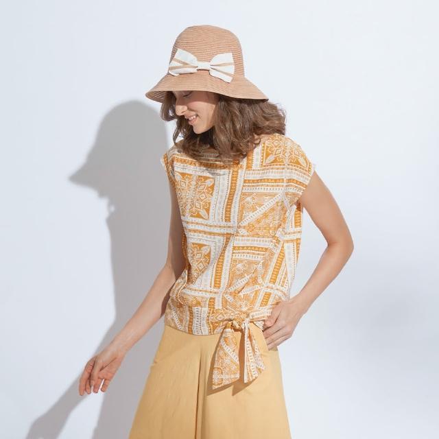 【AZUR】休閒圖騰復古印花綁帶上衣