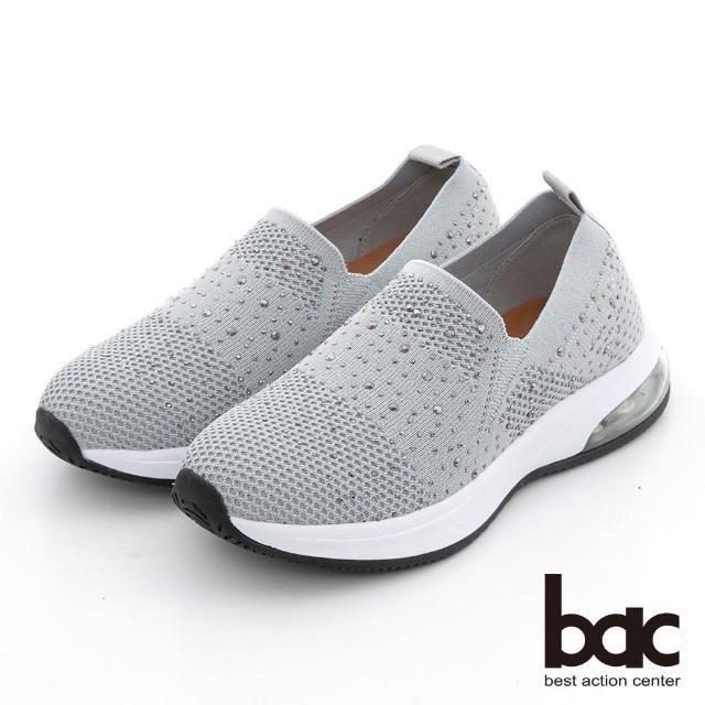 【bac】包覆感飛織水鑽休閒鞋(灰色)
