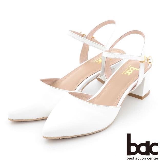 【bac】簡約線條兩截式粗跟鞋(白色)