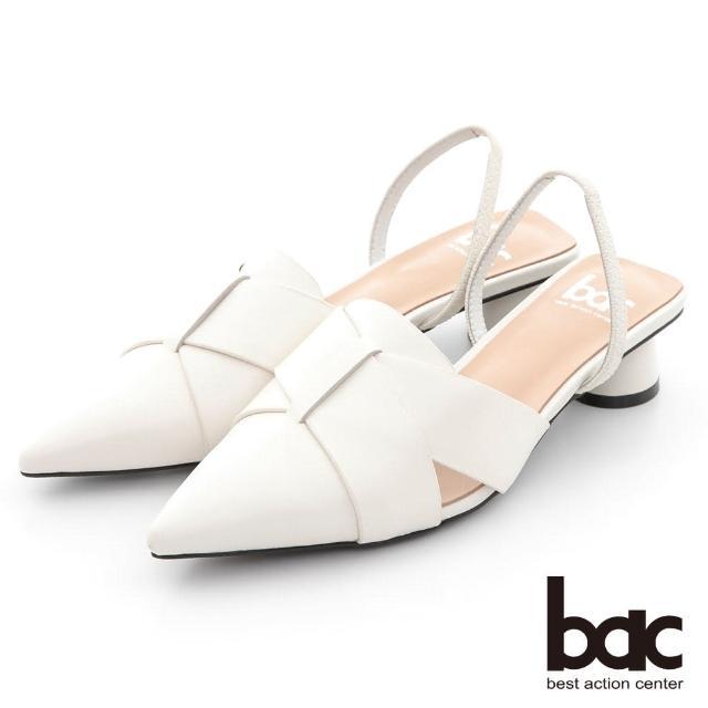 【bac】時髦交叉層疊兩截式後空低跟鞋(白色)