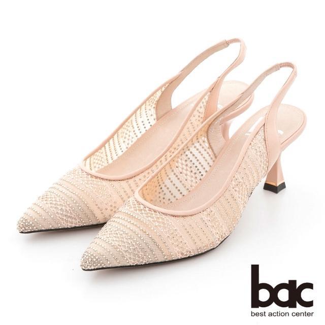 【bac】蕾絲透膚感水鑽點綴後空高跟鞋(粉金)