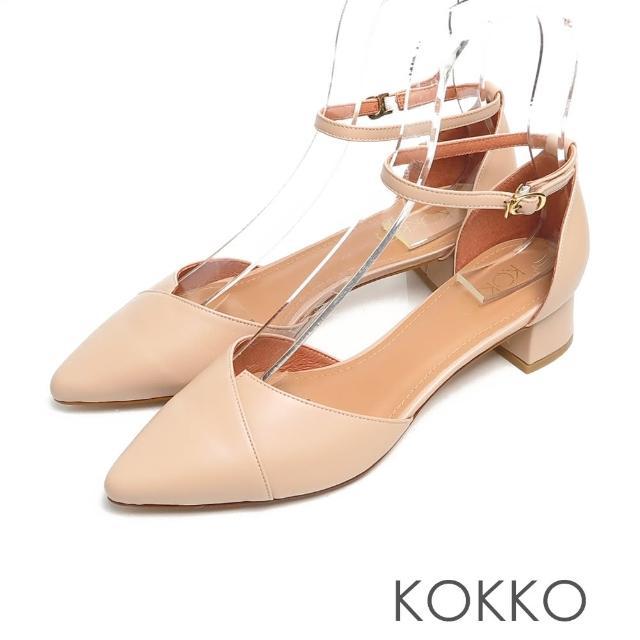 【KOKKO 集團】優雅尖頭瑪莉珍柔軟綿羊皮顯瘦粗跟鞋(奶茶色)