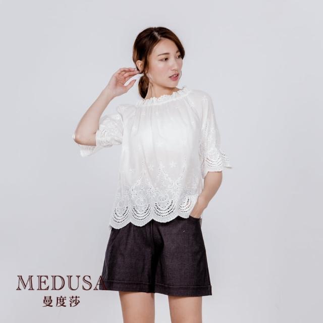 【MEDUSA 曼度莎】純棉 鬆緊造型燒花休閒上衣(M-XL)(601-14601)