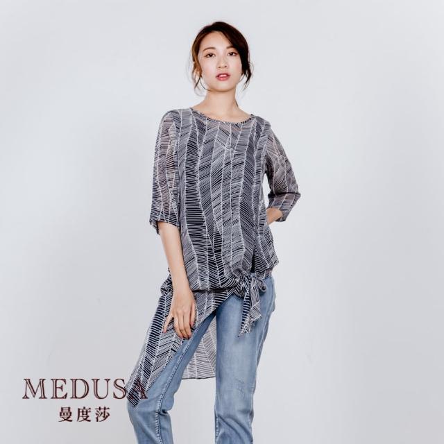 【MEDUSA 曼度莎】長版雪紡綁結斜紋上衣(M-2L)(601-15501)