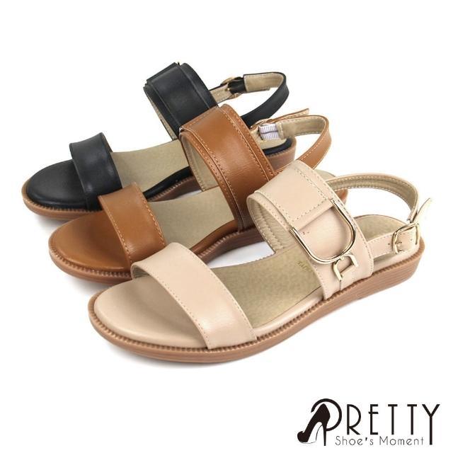 【Pretty】台灣製簡約一字帶金屬繫帶涼鞋(棕色、米色、黑色)