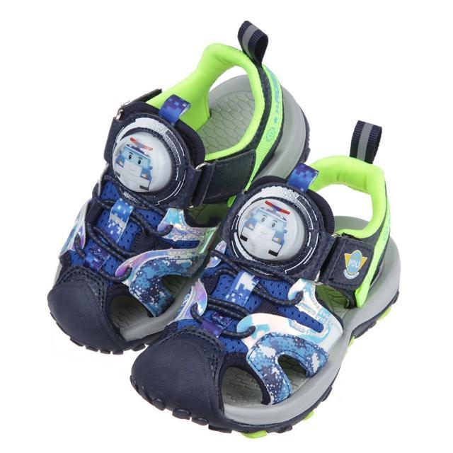 【布布童鞋】POLI救援小英雄波力藍色點陣迷彩兒童電燈護趾涼鞋(B1B226B)