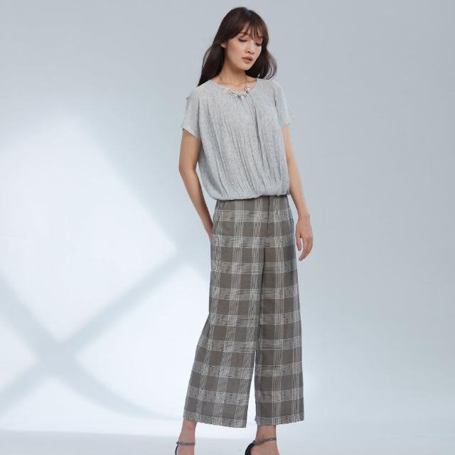 【AZUR】氣質OL時尚格紋寬褲-藍