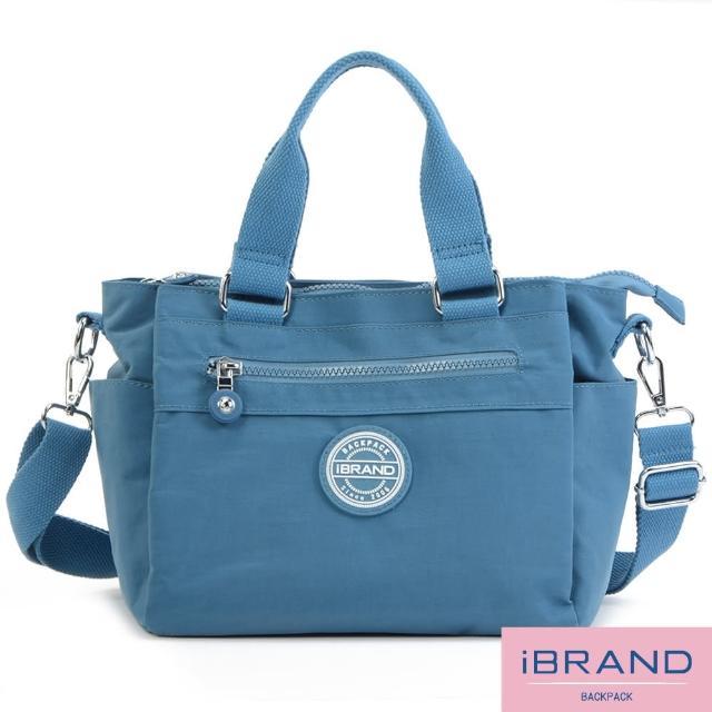 【i Brand】輕盈多隔層素色防潑水尼龍側背包(牛仔藍)