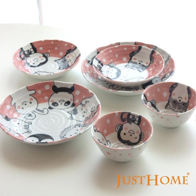 【Just Home】日本製開心動物陶瓷餐具6件組/飯碗/餐盤/湯盤/淺缽/可微波