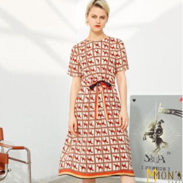【MON'S】100%蠶絲皇家名品艷橘洋裝