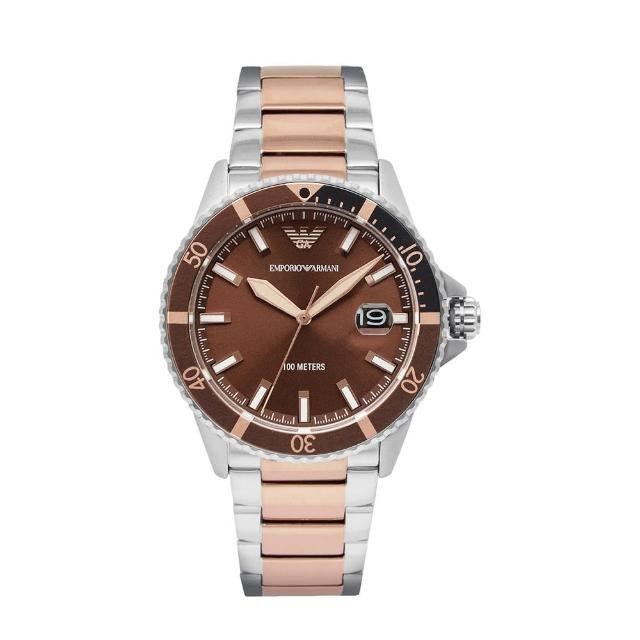 【EMPORIO ARMANI】原廠平行輸入 水鬼系列 棕色面玫瑰金指針 銀殼 不鏽鋼錶帶(AR11340)