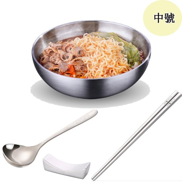 【PUSH!】餐具304不銹鋼碗加厚雙層隔熱湯碗沙拉碗泡麵碗(碗筷勺筷托組合中號E165- 1)